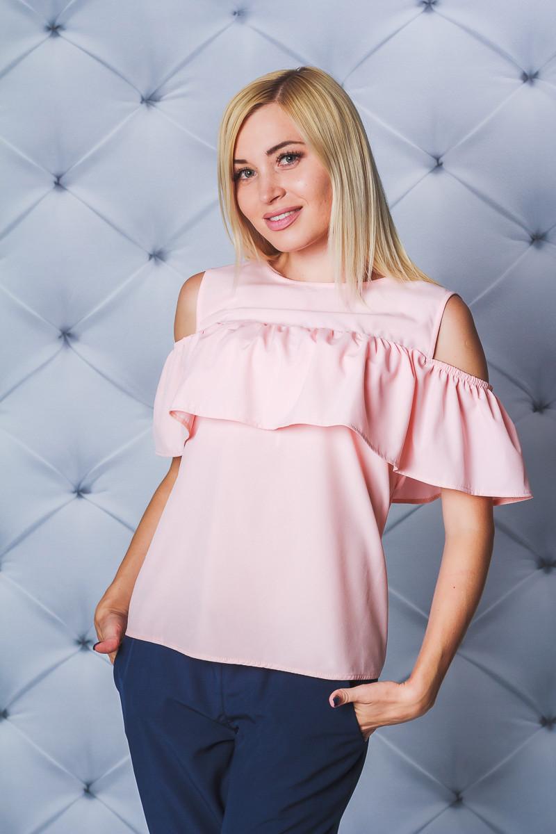 Блуза женская с рюшей персик