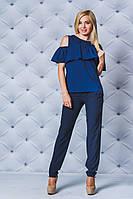 Блуза женская с рюшей т-синяя