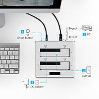 USB3.0 док станция на 2 HDD/SSD ORICO 6828US3-C-V1-EU-SV