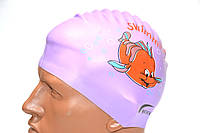 Шапочка для плавания Quick. Детская с рисунком фиолетовая. Шапочка для плавання Quick Дитяча