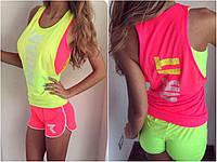 Женский спортивный костюм -тройка неон