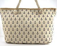 Яркая вместительная женская пляжная сумка Б/Н art. 9463 бежеваямаленькие якоря(100117)