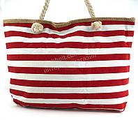 Яркая вместительная женская пляжная сумка Б/Н art. 9463 красные/белые полосы(100069)