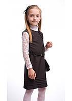 Модный школьный сарафан Клэр для девочки. Размеры 116- 140 Серый