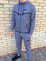 Спортивный костюм Nike (Найк), ТОП петля серый с черными вставками