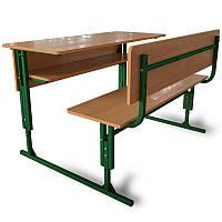 Школьные парты 2-х местные регулируемые по высоте с передней панелью и полкой. Школьная мебель.