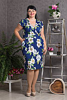 Великолепное батальное платье с белыми цветами размер: 52,54,56,58