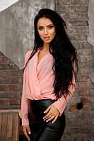 Стильная блуза с запахом персиковая