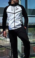 Спортивный костюм Nike (Найк), ТОП петля черно-белый с V-образной вставкой
