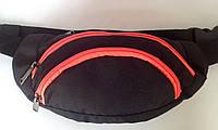 Сумка на пояс (поясная сумка, Бананка) три кармана черного цвета с яркой змейкой