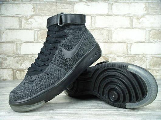 Кроссовки мужские Nike Air Force 1 Flyknit University Dark Grey/Black, найк аир форс, реплика