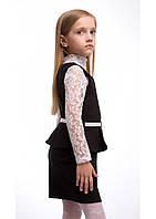 Модный школьный сарафан для девочки Алекса. Размеры 116- 140 Цвет черный