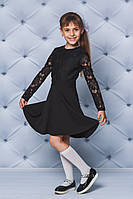 Школьное платье с кружевом черное