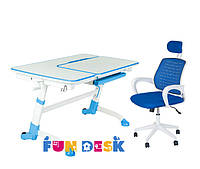 Парта растущая для дома FunDesk Amare Blue + Детское кресло LST5 Blue