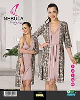 Комплект ночная сорочка и халат на запах  NEBULA