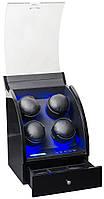 Шкатулка для автоподзавода 4-х часов Rothenschild RS-324-4-BBD с LCD дисплеем