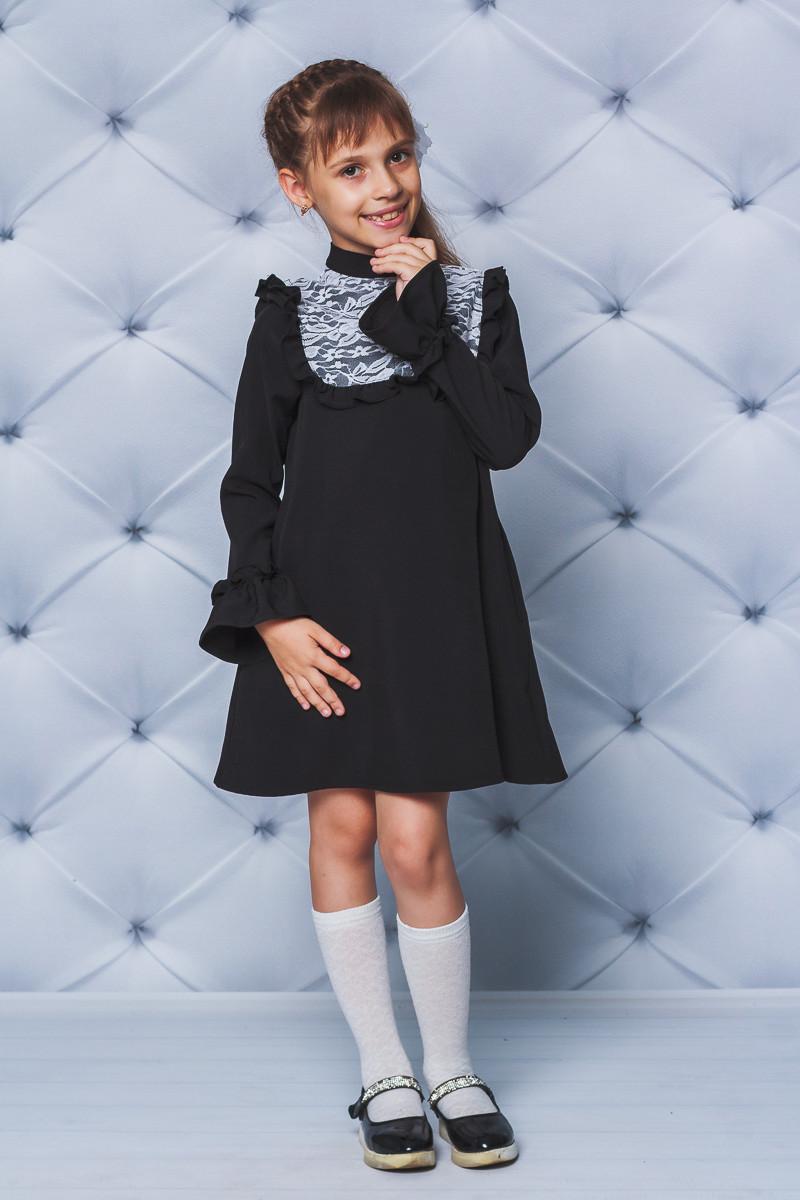 Платье школьное нарядное черное