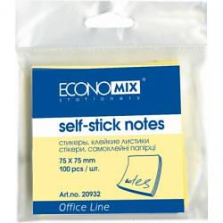 Блок для нотаток з клейким шаром 75х75 мм Economix, 100 арк., жовтий