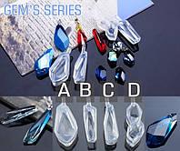 """Молд из серии Gem's  """"Драгоценные камни""""  кристалл модель С, прозрачный промышленный силикон, фото 1"""