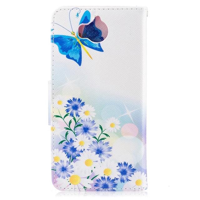 чехол книжка на Huawei Y5 2017 с голубыми бабочками и цветочками
