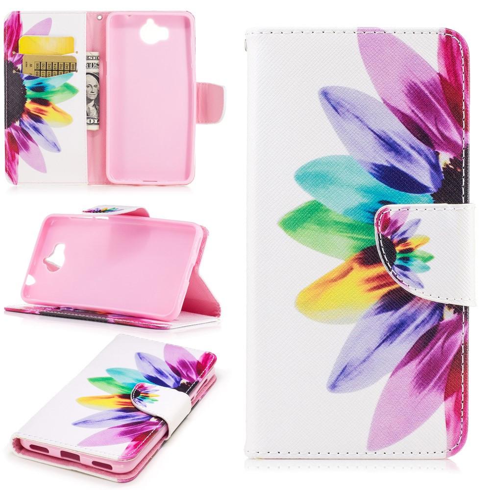 Чехол книжка для Huawei Y5 2017 боковой с отсеком для визиток, Цветик семицветик
