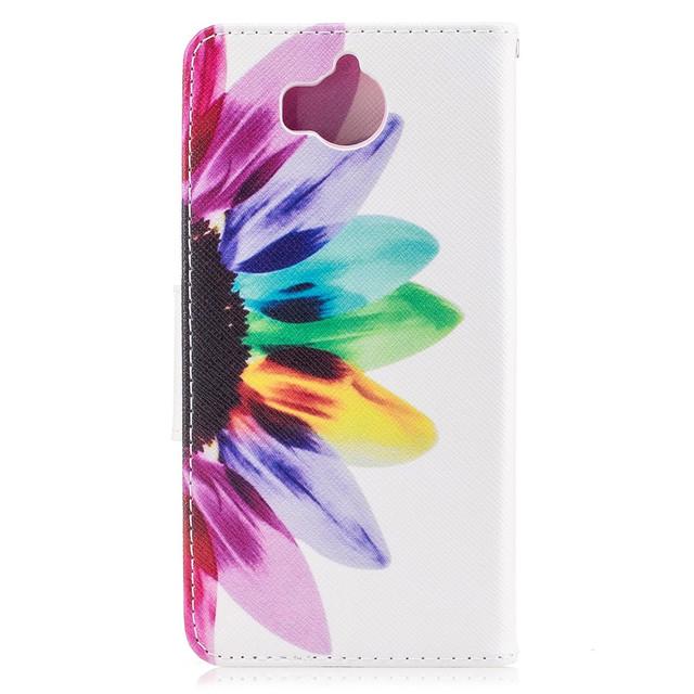 чехол книжка на Huawei Y5 2017 с цветиком семицветиком