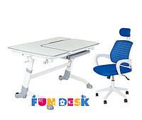Парта растущая для дома FunDesk Amare Grey + Детское кресло LST5 Blue