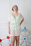 Гипюровая пляжная туника молочного цвета размер 48,54