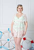 Белая пляжная туника-платье батального размера 48,54