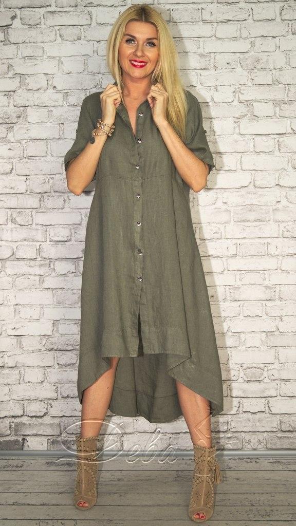 38d4080da32 Льняное платье - рубашка Батал Цвета 262 ДН  продажа