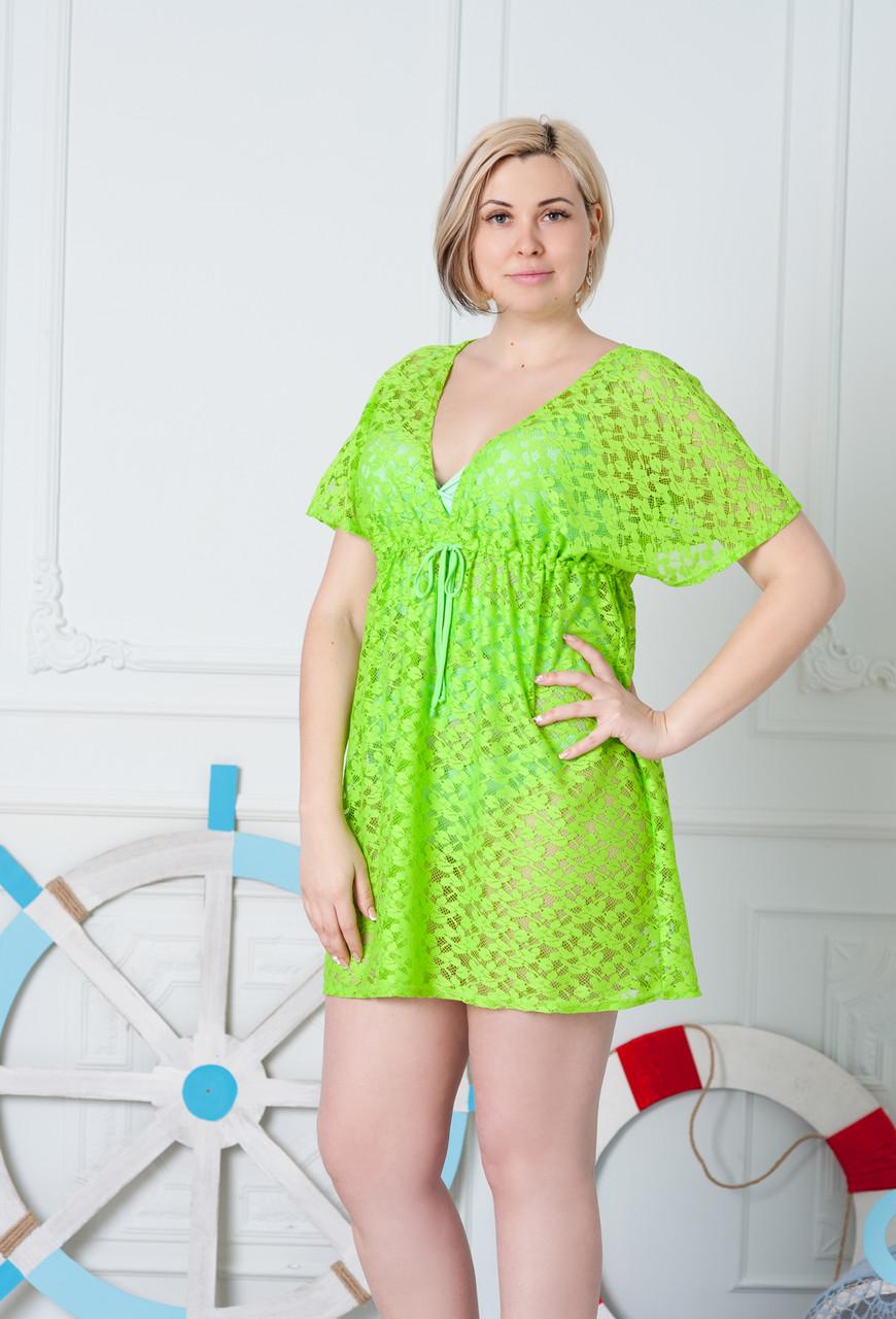 19a72eab404 Летняя салатовая туника для моря и отпуска размер 48 - Интернет-магазин  стильной одежды