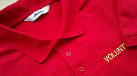 Ярко-красная мужская футболка  volunteer поло Размер S