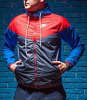 Windrunner Nike (Ветровка, виндраннер Найк), красно-серая с синими рукавами, фото 1
