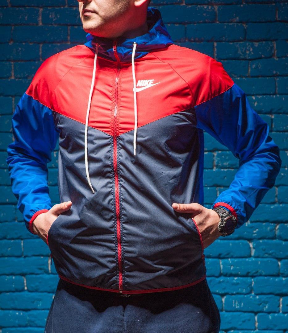 Windrunner Nike (Ветровка, виндраннер Найк), красно-серая с синими рукавами