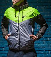 Windrunner Nike (Ветровка, виндраннер Найк), салатово-серая с черными рукавами, фото 1