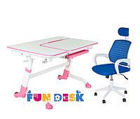 Парта растущая для дома FunDesk Amare Pink + Детское кресло LST5 Blue