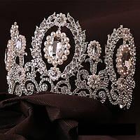 Высокая корона, диадема, тиара в серебре для конкурса,  высота 9,5 см.