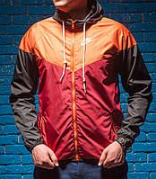 Windrunner Nike (Ветровка, виндраннер Найк), оранжево-бордовая с черными рукавами, фото 1