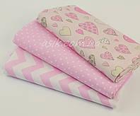 Набор детских пеленок из 3-х штук розового цвета