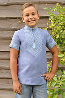Вышиванка для мальчика короткий рукав голубая