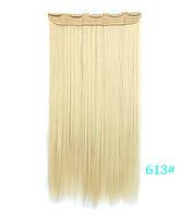 Не дорого ровные длинные трессы 60 см цвет блонд, фото 1