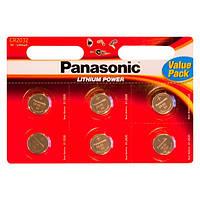 Батарейка таблетка CR2032 Panasonic Lithium блистер (CR-2032EL / 6B)