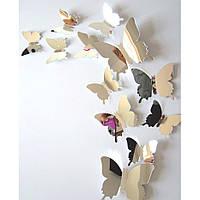"""Наклейка на стену зеркальная """"Бабочки"""" (12 шт.)"""