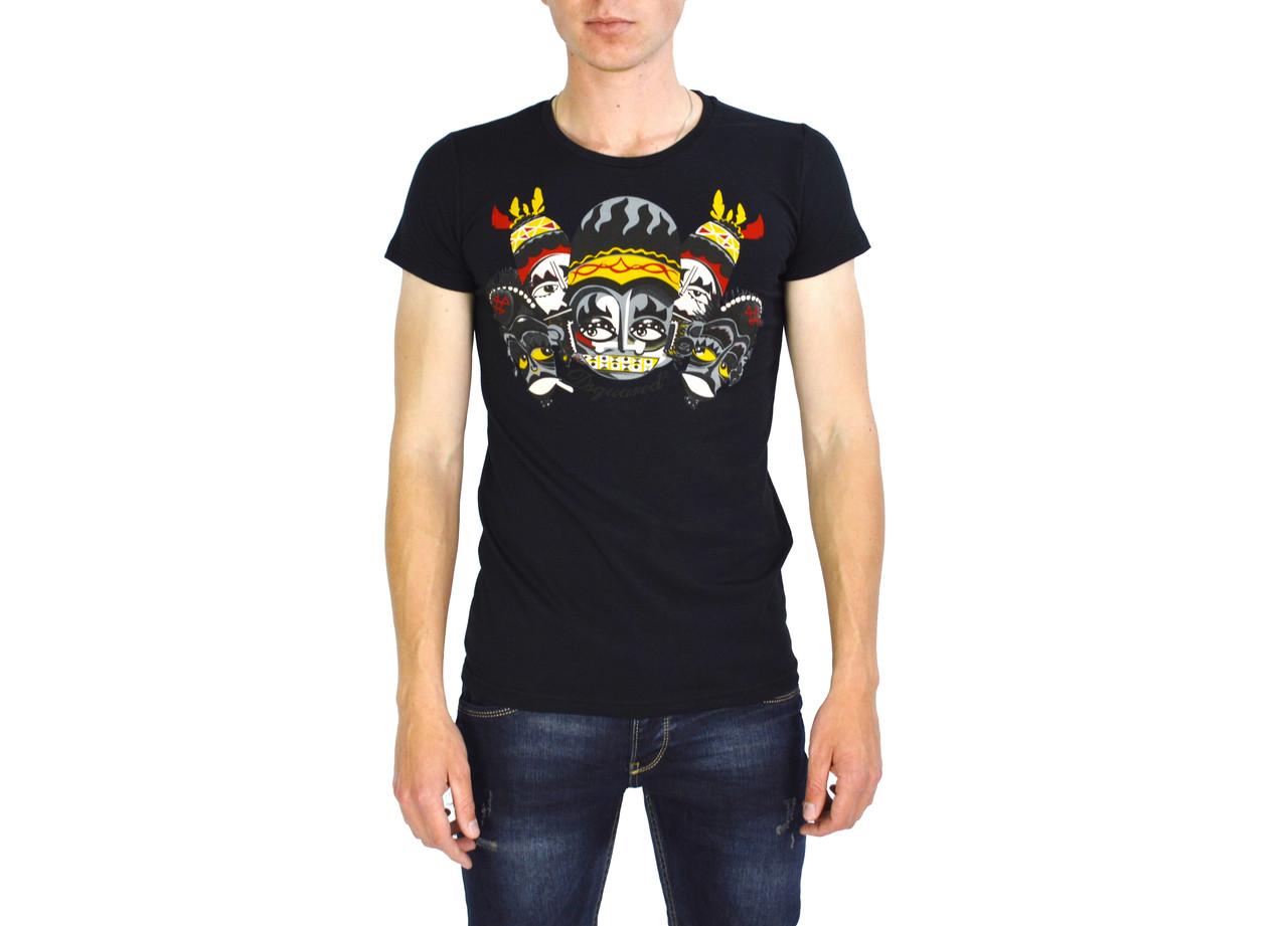 Черная мужская футболка с рисунком DSQUARED  на лето