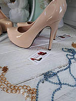Туфли Christian Louboutin(лабутены) бежевые лак(эко) высокий каблук
