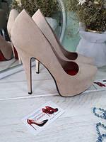 Бежевые туфли высокий каблук экозамш  копия