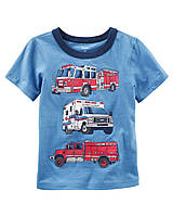 Футболка синяя Carters с пожарными машинами для мальчика, 5T, 6T, 8T