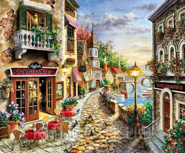 Алмазна мозаїка Кафе біля моря 50 х 60 см (арт. FS579)