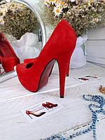Туфли женские  красный замш  высокий каблук и платформа