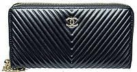 Стильный практичный кошелек из кожи Leither Purse Chanel, черный